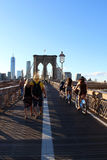 Walkway on the brooklyn bridge in New York City. Royalty Free Stock Photo