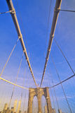 Walkway on Brooklyn Bridge on way to Manhattan, New York City, NY Royalty Free Stock Image