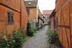 Walkway between buildings. Cobblestone alleyway or walkway between buildings in the old Danish town of Helsingor Royalty Free Stock Images