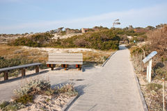 Walkway and buildings at Asilomar State Park Stock Image