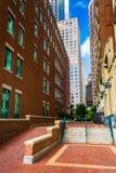 Walkway between buildings in Boston, Massachusetts. Royalty Free Stock Images