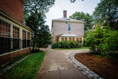 Walkway and buildings on the campus of Brown University, in Prov Royalty Free Stock Photo