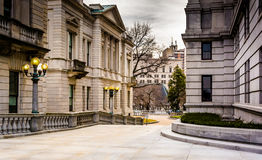 Walkway and buildings at the Capitol Complex in Harrisburg, Penn Royalty Free Stock Image