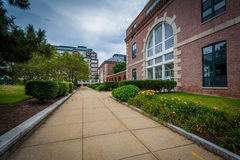 Walkway and buildings in Charlestown, Boston, Massachusetts. Stock Photos