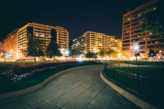 Walkway and buildings at Farragut Square at night, in Washington Stock Photography