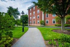 Walkway and buildings at Harvard Business School, in Boston, Mas Royalty Free Stock Image