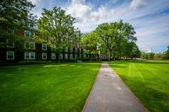 Walkway and buildings at Harvard Business School, in Boston, Mas Stock Image