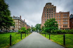 Walkway and buildings at the Public Garden in Boston, Massachuse Stock Images