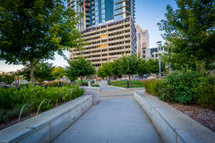Walkway and buildings seen at Romare Bearden Park, in Uptown Cha Stock Image