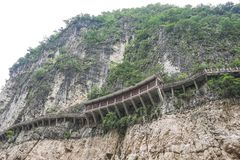 Cliff walkway. Walkway built on the side of a cliff above the Yangtze River, China Royalty Free Stock Images