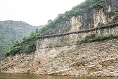 Cliff walkway. Walkway built on the side of a cliff above the Yangtze River, China Stock Photo