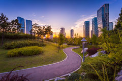 Walkway in Central park, Seoul city with Beautiful after sunset Royalty Free Stock Photography