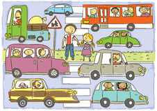 Walkway. Child's hand drawing vector illustration on child crossing the street with many cars.Additional format vector format EPS8 Stock Photos