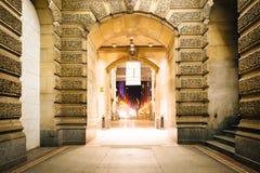 Walkway at City Hall at night, in Philadelphia, Pennsylvania. Stock Photography