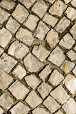 Walkway cobblestone. Cobbled road texture. Aerial view.Vertica Royalty Free Stock Photography