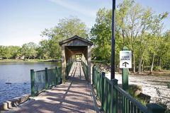 Walkway and covere bridge Stock Photo