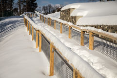Walkway covered in winter snow Royalty Free Stock Photography