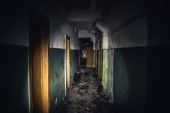 Walkway in creepy abandoned building, dark scary corridor with many doors, horror background concept. Toned Stock Photos