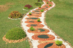 Walkway decorated with tiles Royalty Free Stock Photos