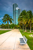 Walkway and distant skyscraper seen at South Pointe Park, Miami Stock Photos