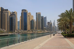 Walkway in district Marina in Dubai Stock Photos