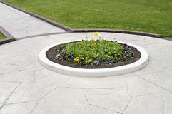 Walkway flower bed Stock Photo