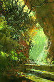 Walkway in the forest,scenery. Landscape illustration digital painting Royalty Free Stock Images