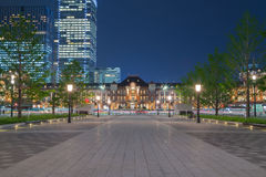 Walkway in front of Tokyo Station at night, Japan Stock Photography