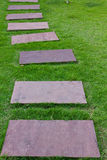 Walkway in the garden. Slab pavement on the grass Royalty Free Stock Photography