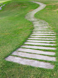 Walkway on green grass Stock Image