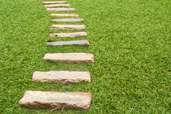 Walkway on green grass Royalty Free Stock Images