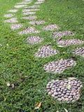 Walkway on green grass Stock Image