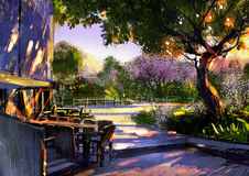 Walkway in green park with sunlight Royalty Free Stock Images