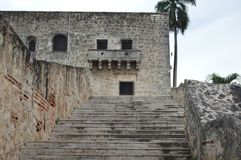 Walkway in historic Center of Santo Domingo. royalty free stock image