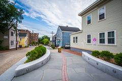 Walkway and houses in downtown Portsmouth, New Hampshire. Stock Photos