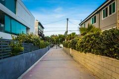 Walkway between houses in Venice Beach  Stock Photo