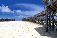 Walkway and Huts on Stilts Royalty Free Stock Photography