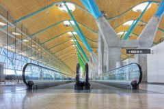 Walkway In Departure Hall - Airport Madrid Royalty Free Stock Photo