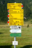 Walkway indication of trail trekking at Cavaglia Royalty Free Stock Images