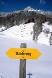 Walkway indication of trail trekking at Engelberg Stock Images
