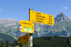 Walkway indication of trail trekking at Engelberg Stock Photography