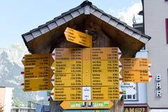 Walkway indication of trail trekking at Engelberg Stock Image