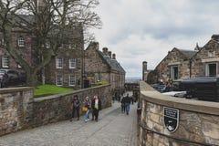Walkway inside the complex area of Edinburgh Castle, popular tourist landmark of Edinburgh, capital city of Scotland, UK Royalty Free Stock Photos