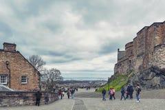 Walkway inside the complex area of Edinburgh Castle, popular tourist landmark of Edinburgh, capital city of Scotland, UK Stock Image