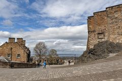 Walkway inside the complex area of Edinburgh Castle, popular tourist landmark of Edinburgh, capital city of Scotland, UK Stock Photography