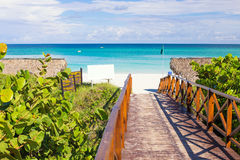 Walkway leading to the beach of Varadero in Cuba Royalty Free Stock Photo