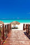 Walkway leading to a tropical beach in Cuba Royalty Free Stock Photography