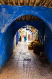 A blue archway in the city of Rabat, Morocco royalty free stock photography