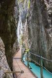 Walkway through the Leutasch Gorge Stock Photo