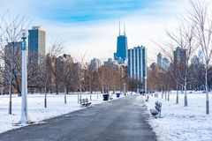 Walkway in Lincoln Park Chicago heading Downtown stock photography